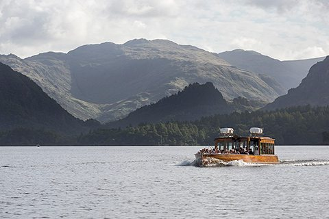 Explore Derwentwater on Keswick Launch. 15 min walk from Scots Pine holiday cottage.